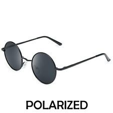 Polarised John Lennon style Round Retro Sunglasses Vintage BLACK with Hard case