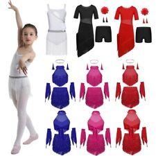 Girls Gymnastics Ballroom Dance Outfit Kid Tassels Latin Salsa Competition Dress