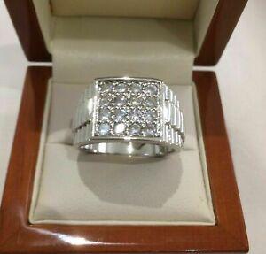 14K White Gold Modern Bold and Brilliant Engagement Wedding Ring 1.84 Ct Diamond