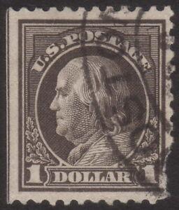1917, US $1, Deep brown, Used, damaged, Sc 518b