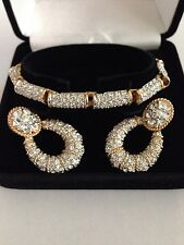 Swarovski Crystal Earrings & Bracelet Signed - STUNNING!!! - New in Velvet Box