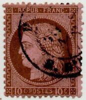 1871/73 FRANCIA CERERE 10 CENT. BRUNO SU ROSA CAT.UNIF. N.54 USATO