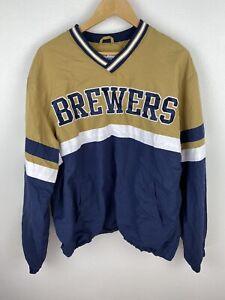 Vintage MLB Milwaukee Brewers Mens Track Jumper Size L Windbreaker Pullover Sewn