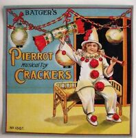 """Batger's 30-40's Art Deco English Label for """"Crackers"""" Poppers w/ Pierrot *"""