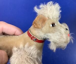 VINTAGE STEIFF Snobby POODLE Dog Grey Mohair with ID 5.5in 1950s