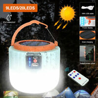 Solar LED Camping Light Tent Lamp USB Rechargeable Bulb Lantern Flashlight Torch