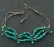 """SILVER TURQUOISE DOG COLLAR CHOKER 12.5"""" to 16.5"""" 925 STERLING"""