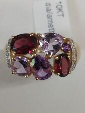 10K Yellow Gold Multi Color Amethyst, Garnet and Diamond Cluster Ring Size 7 New