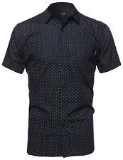 Fashionoutfit Men Classic Patterned Short Sleeve Button Down Cotton Shirt Top Regular L Navy