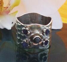 Ring Lapislazuli Stone of Friendship Sterling Silver 925 Hammered Size 16,8 Mm