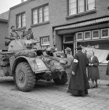 WW2  Photo WWII Dutch Civilians British Armored Car  1944 World War Two / 1604