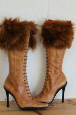 BROWN SOFT LEATHER HIGH HEEL KNEE HIGH BOOTS SHEEPSKIN TRIM SIZE 4 BY ALDO USED