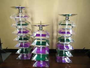 Shlomi Haziza Acrylic Lucite Purple and Green Candle Holder Signed and w/Sticker