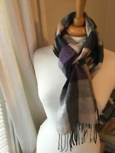 THE ROYAL MILE Made In Scotland 100% Cashmere Purple Grey Mix Scarf Shawl