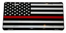 New listing New Thin Red Line Fire Dept. Flag Metal Novelty Car License Plate Tag Usa Made