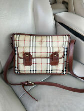 Burberry Haymarket Check Canvas Crossbody Bag Shoulder Briefcase Messenger