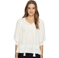NWT Kate Spade New York $298 Rambling Roses Lace Inset Silk Blouse Shirt Cream S