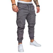 Hombre Cintura Elástica Cargo Militar Pantalón de Trabajo Corte Slim Casual