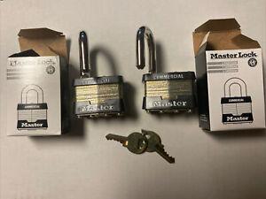 New 2 Master Lock 1KA KEY:2126 Commercial Padlock One Set Of Keys