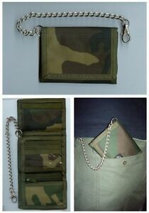 Woodland Camo Wallet with Security Chain - Army Military Purse Soldier Mens New