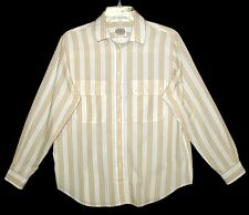 Sz M Women's Long Sleeve Western Shirt PICKET and POST Tan Stripe Poly/Cotton