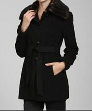!NWT Anne Klein Womens Wool Blend Single Breasted Coat Faux Fur Collar Black  LP