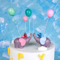 "Elephant Balloon Lolli ""Happy Birthday"" Cake Topper Dessert Decoration Gifts GN"