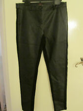New Look Black PVC Style PU Skinny Trousers with Side Panels in Size 14 - L32