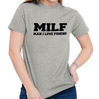 MILF Man I Love Fishing Funny Fisherman Gift Mens Short Sleeve Crewneck Tee