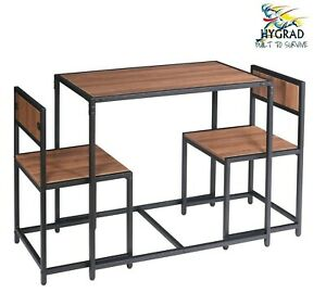 3 Pcs Walnut Table and Chairs Dining Set Breakfast Table Set For Living/Dining