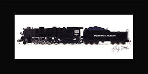 """Boston & Albany 2-8-4 10""""x17"""" print in 10""""x20"""" Mat Andy Fletcher signed"""