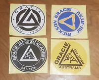 4 x Gracie Jiu Jitsu Sticker Flag BJJ Brazillian Ju Rickson Royce Gi UFC MMA