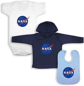 NASA Babywear Bundle - White SS Bodysuit / Navy LS Hoodie / Blue Bib