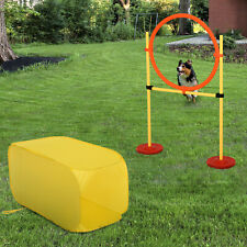 Pet Dog Agility Training Set Ring Square Tunnel Adjustable Height Yellow