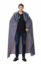 Mens Grey Cape Cloak With Plush Fur Collar Game Of Thrones King Fancy Dress