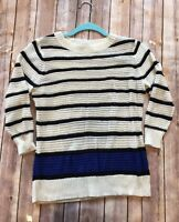 Black Rivet Women's Sweater 3/4 Sleeve White Black Blue Small Knit Striped Top