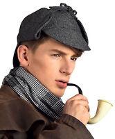 MENS VICTORIAN CAPE & DEERSTALKER CAP HAT SHERLOCK HOLMES COSTUME FANCY DRESS