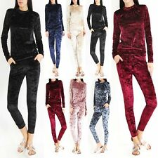 Ladies Womens Crushed Velour Velvet Jogger Loungewear 2 Piece Tracksuit 8-14 UK