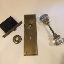 Vintage 1880's Glass Crystal 8-Point Door Knob, Sargeant Lock, & Latch Set
