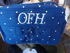 Pottery Barn Teen Sleepover Navy Pin Dot Large Makeup Case mono OFH w brushes