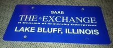 Dealer License plate THE SAAB EXCHANGE LAKE BLUFF ILLINOIS chicago area VINTAGE