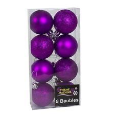 Decoración de Navidad de 8 Pack 50mm Brillo/Plain Baubles-Púrpura