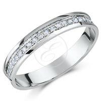 9 ct Oro Blanco Anillo De Eternidad Con Diamante 0,15ct,Cuarto Quilate,Tercer