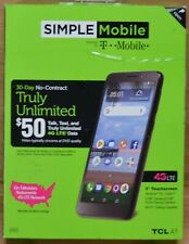 """Simple Mobile TCL A1 5"""" Screen 16GB Memory 4G LTE Prepaid Smartphone"""