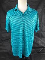 PGA Tour XL aqua green black striped polyester golfing polo shirt