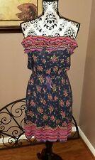 FIRE LOS ANGELES navy blue floral & stripe strapless knit dress size M