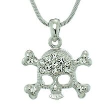 Skull Dead Made With Swarovski Crystal Gothic Necklace Clear Pendant Charm Gift