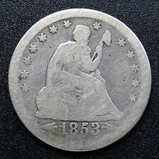 USA 1853 Seated Liberty Quarter Dollar 25 Cent Philadelphia Silber Selten 2706