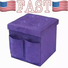 "Storage Ottoman Bench, Collapsible/Folding Bench Chest with Cover 15""x15""x15"""