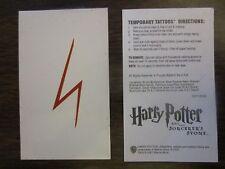 Official Warner Brothers 2001 Promo Harry Potter Lightning Bolt Tattoo Bookmark